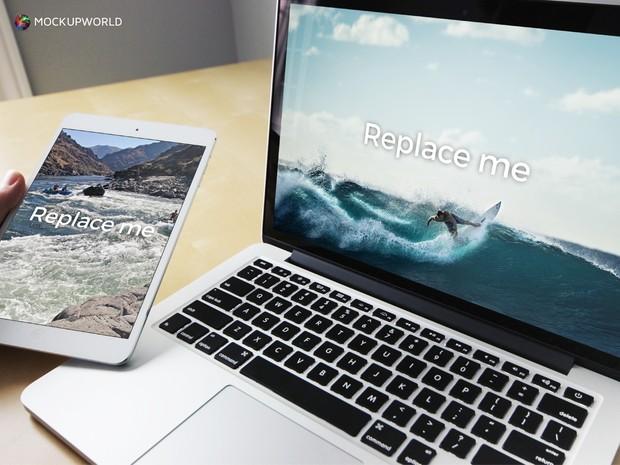 MacBook with iPad Mockup (PSD)