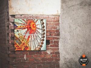 Sign on Brick Wall Mockup (PSD)