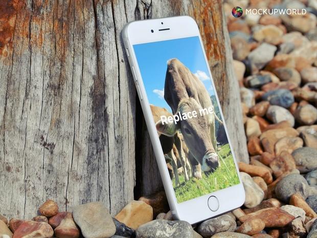 iPhone and Wood Mockup (PSD)