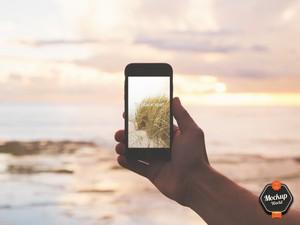 iPhone on the Beach Mockup (PSD)