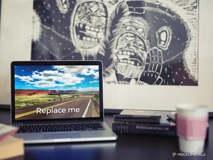 MacBook on Desk Mockup (PSD)