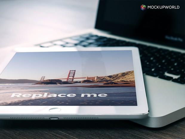 iPad on MacBook Mockup (PSD)