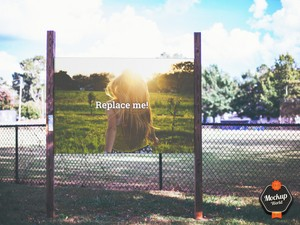 Billboard at Playing Field Mockup (PSD)