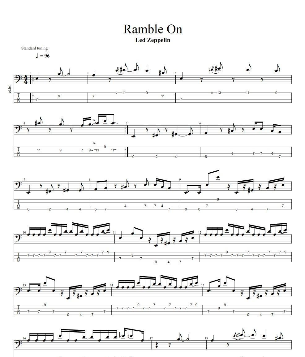 Ramble On by Led Zeppelin   Bass Tabs by Jason