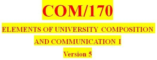COM 170 Week 1 Subjects and Verbs