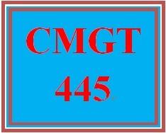 CMGT 445 Week 4 Individual Implementation Plan Development