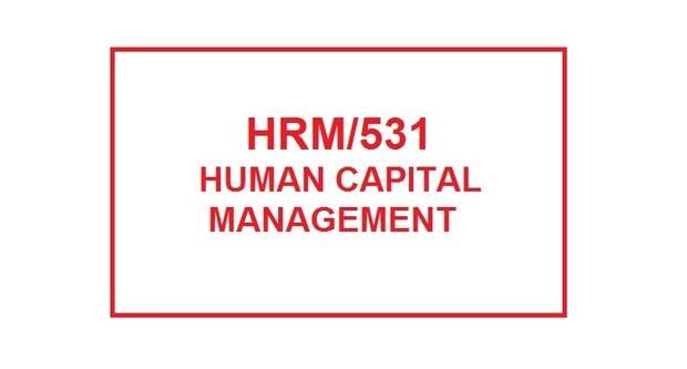 HRM 531 Week 5 Training Plan