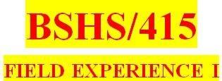 BSHS 415 Week 8 Weekly Journal Entry
