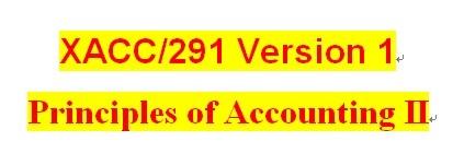 XACC 291 Week 1 CheckPoint - Exercises