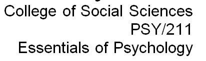 PSY 211 Week 1 Introduction to Psychology Worksheet