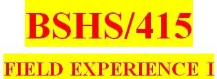 BSHS 415 Week 14 Weekly Journal Entry