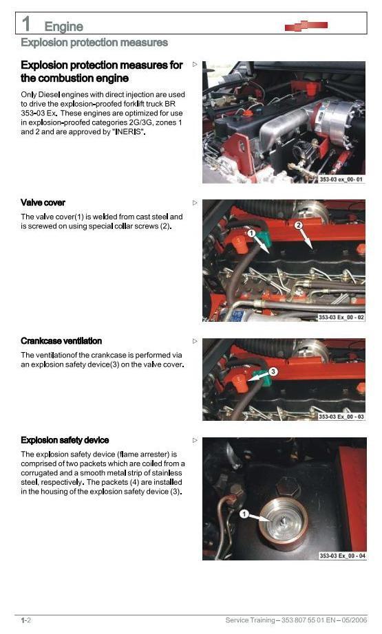 Linde H50D, H60D, H70D,H80D Explosion Protected Forklift Truck 353-03  series Service Training Manual