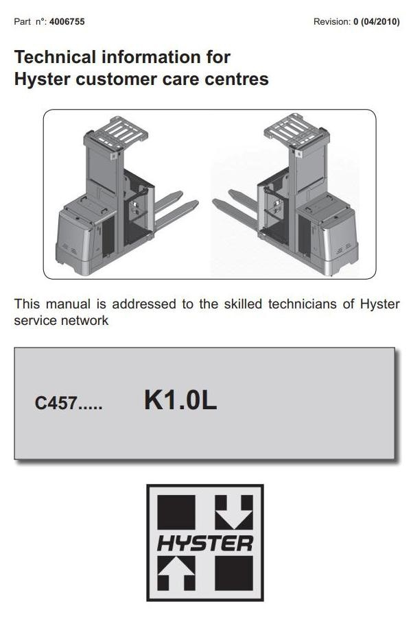 Hyster K1 0L Order Picker C457 Series Workshop Service Manual