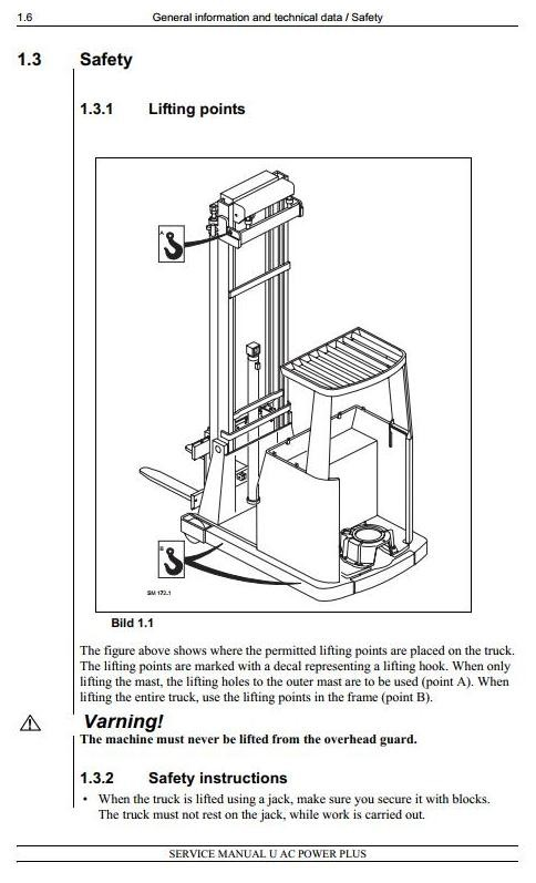 Atlet UFS, UHS, UNS, UNN, URF, USS Series & Linde R25F Electric Reach Truck  Service Workshop Manual