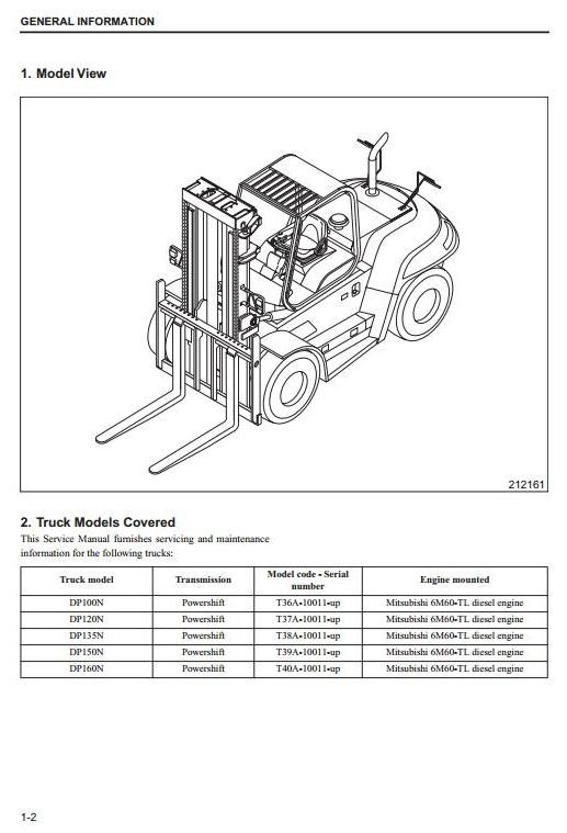 Caterpillar DP100N, DP120N, DP135N, DP150N, DP160N Diesel Forklift Truck  Workshop Service Manual