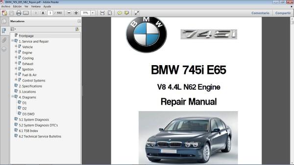 BMW 745i E65 V8 4.4  Workshop Repair Manual - Manual de Taller