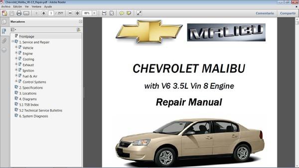 CHEVROLET MALIBU motor V6 3.5L Workshop Repair Manual - Manual de Taller