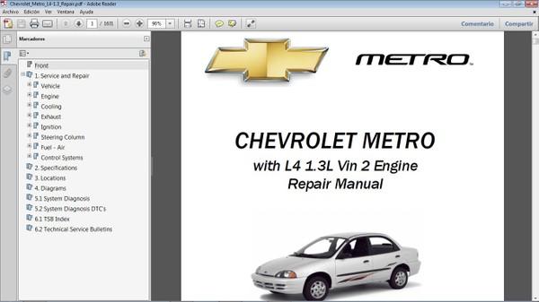 CHEVROLET METRO 1.3 Workshop Repair Manual - Manual de Taller