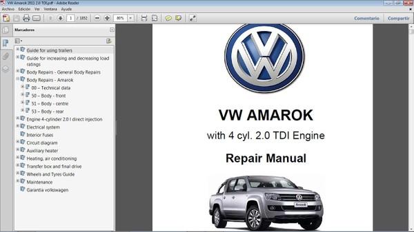 VW AMAROK 2.0L TDI Workshop Repair Manual - Manual de Taller