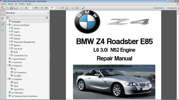 BMW Z4 E85 motor N52 3.0L Workshop Repair Manual - Manual de Taller