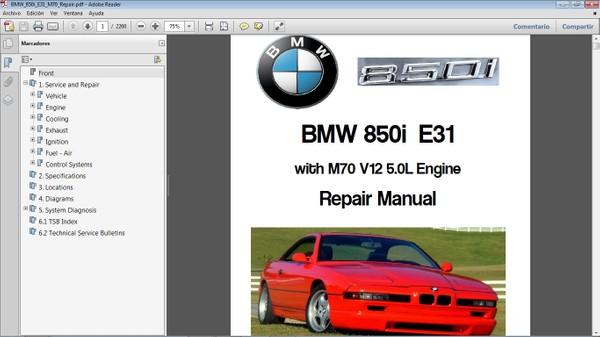 BMW 850i E31 Workshop Repair Manual - Manual de Reparación
