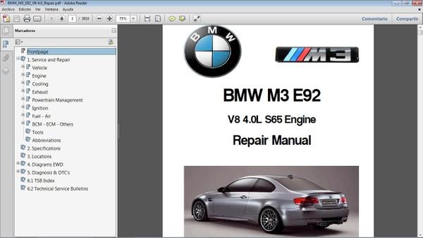 BMW M3 E92 motor S65 4.0L Workshop Repair Manual - Manual de Taller