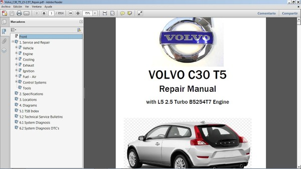 VOLVO C30 T5 2.5 Workshop Repair Manual - Manual de Taller