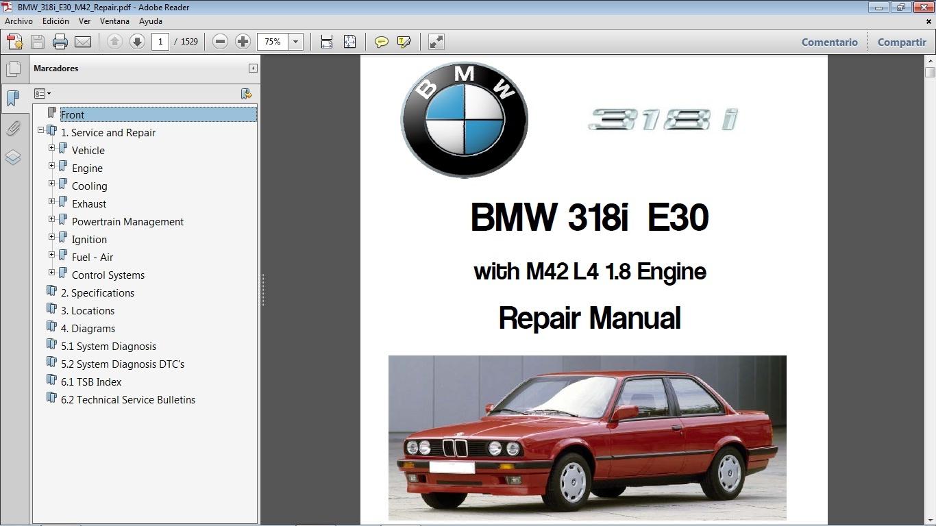 bmw 318i e30 workshop repair manual manual de taller rh sellfy com BMW E30  Differential 1991 BMW 318I E30
