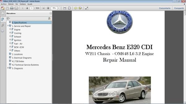 MERCEDES BENZ E320 CDI W211 Workshop Repair Manual - Manual de Reparación