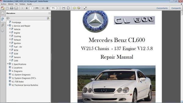 MERCEDES BENZ CL600 W215 V12 5.8 Manual de Taller - Workshop Repair