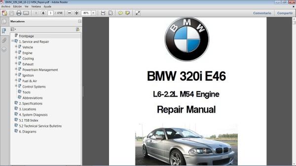 BMW 320i E46 motor M54 2.2L Workshop Repair Manual - Manual de Taller