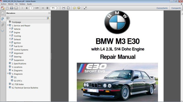 BMW M3 E30 L4 2.3  Workshop Repair Manual - Manual de Taller
