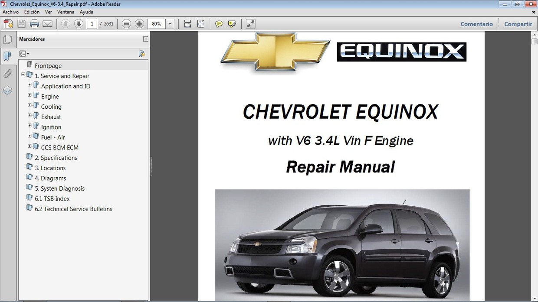 Chevrolet Equinox Manual De Taller - Workshop Repair M
