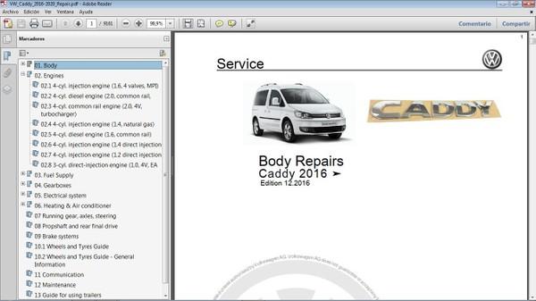 VW CADDY 2016-2020 Workshop Repair Manual - Manual de Taller