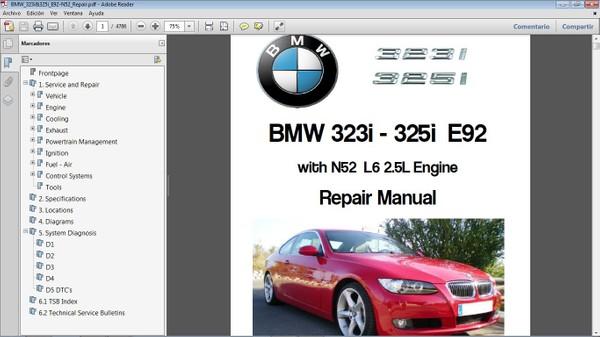 BMW 323i&325i E92 L6 2.5  Workshop Repair Manual - Manual de Taller