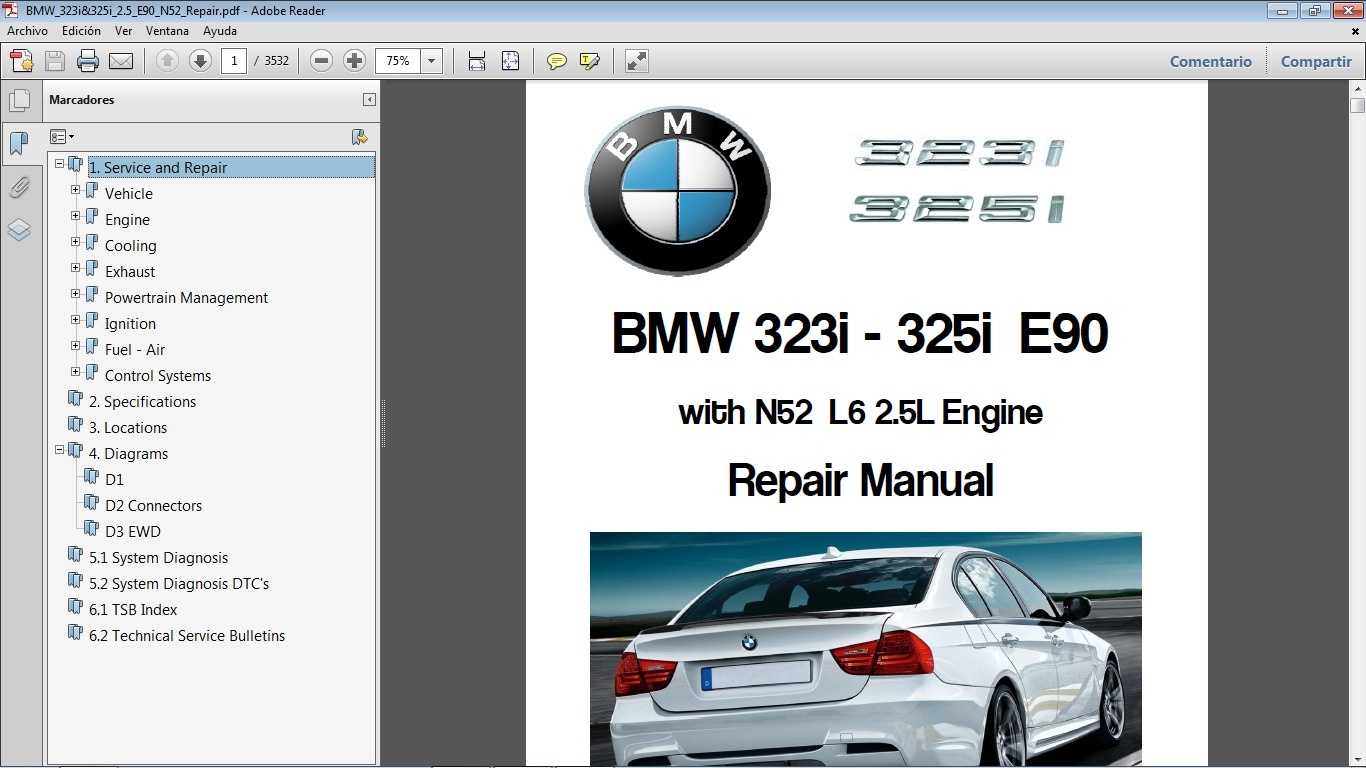 bmw 323i 325i e90 workshop repair manual manual de rh sellfy com BMW 3 E90 Interior BMW 2006 3 Series Manual