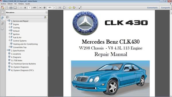 MERCEDES BENZ CLK430 chassis 208 Manual de Taller - Workshop Repair