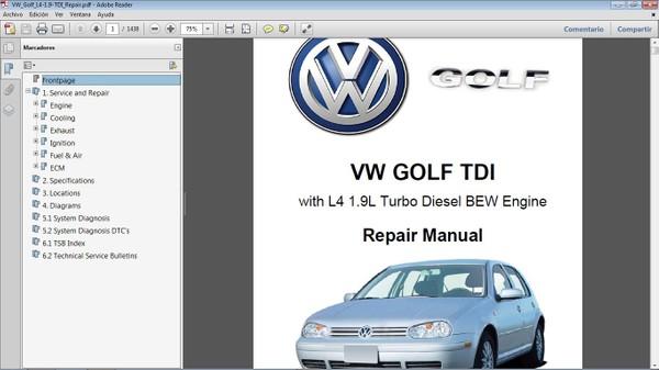 VW GOLF 1.9L TDI Workshop Repair Manual - Manual de Taller
