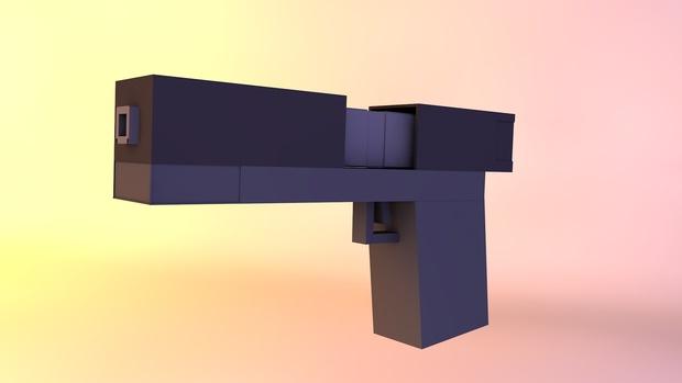Pistola Minecraft Cinema 4D  [FREE]