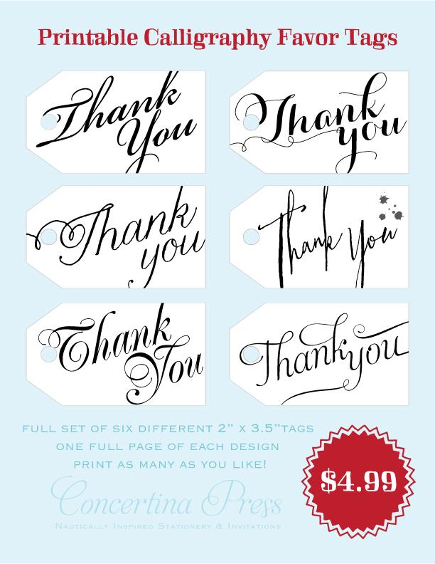 graphic relating to Thank You Gift Tags Printable named Fixed of 6 Printable Thank Your self Reward Tags via Concertina Drive