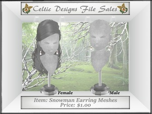 CD Snowman Earring Meshes