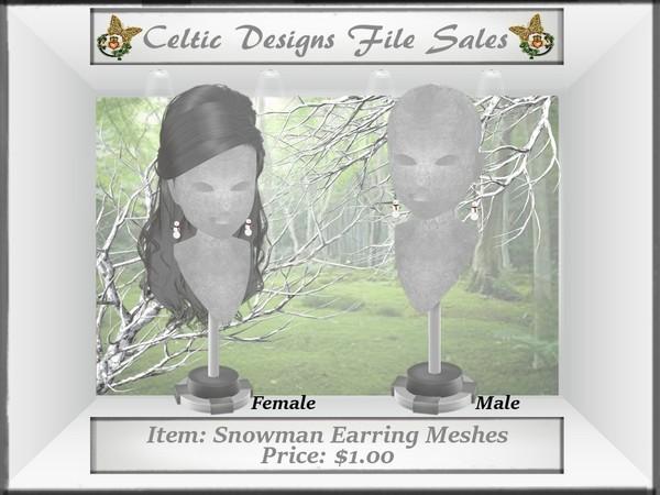 CD Snowman Earring Meshes