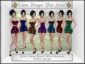 CD Rave Heart Mini Dresses Set