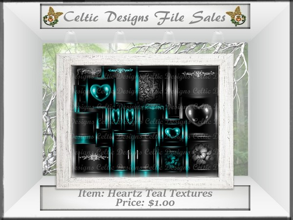CD Heartz Teal Textures