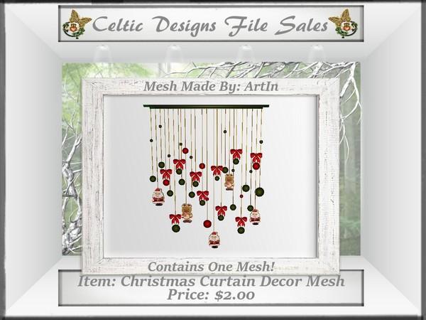 CD Christmas Decor Curtain Mesh