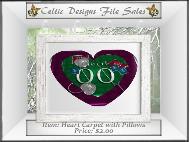 CD Heart Carpet with Pillows