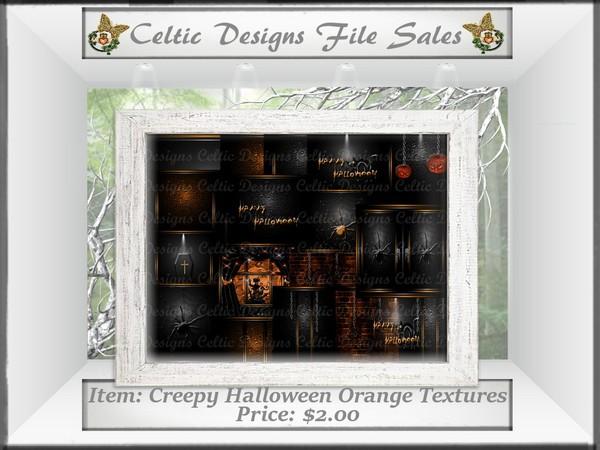 CD Creepy Halloween Orange Textures
