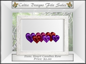 CD Heart Candles Row