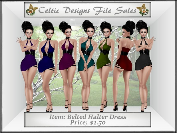 CD Belted Halter Dress