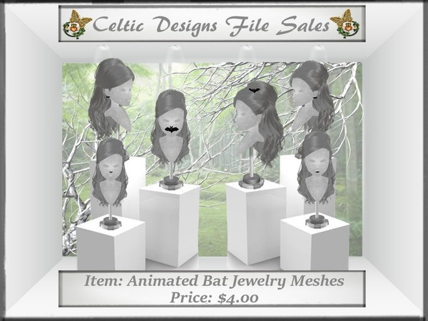CD Animated Bat Jewelry Meshes